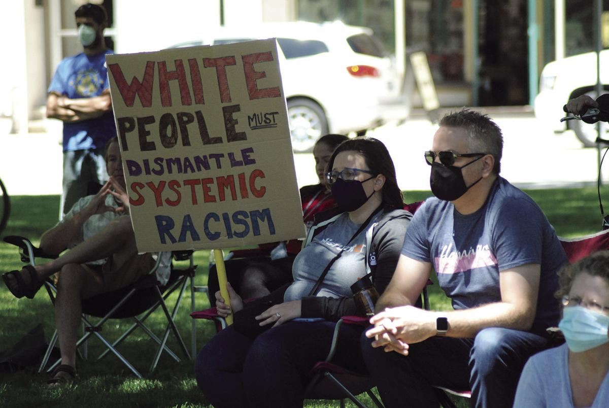 Protesters in Lake Mills on June 13.