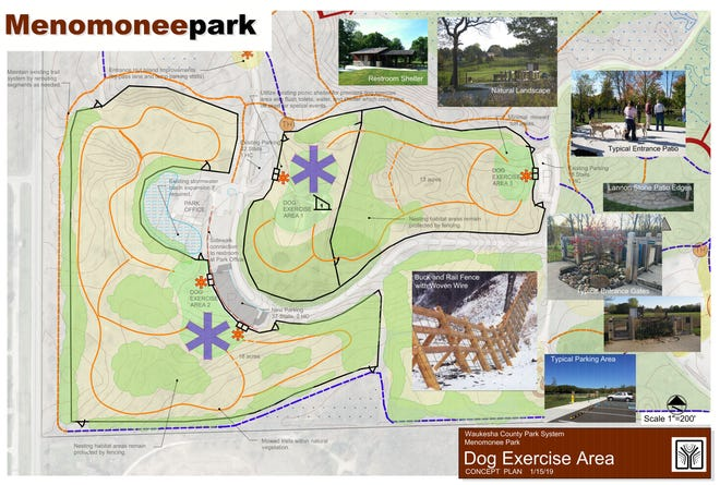 A dog park is slated to open in summer 2021 at Menomonee Park. It will feature three exercise areas for dogs based on the breed size.