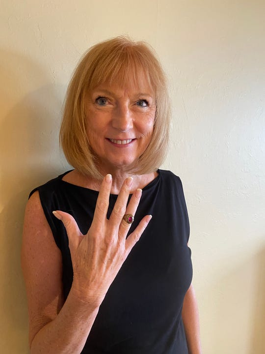Kathy Brosko Schneck shows her long-missing 1968 Parsippany High School class ring, which was recently found by a man with a metal detector at Lewis Morris Park in Morris Township. The man went on Facebook and tracked her down in Florida.