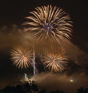 Thunder on the Mountain, Birmingham's annual July 4th fireworks display, with Vulcan, city icon statue.