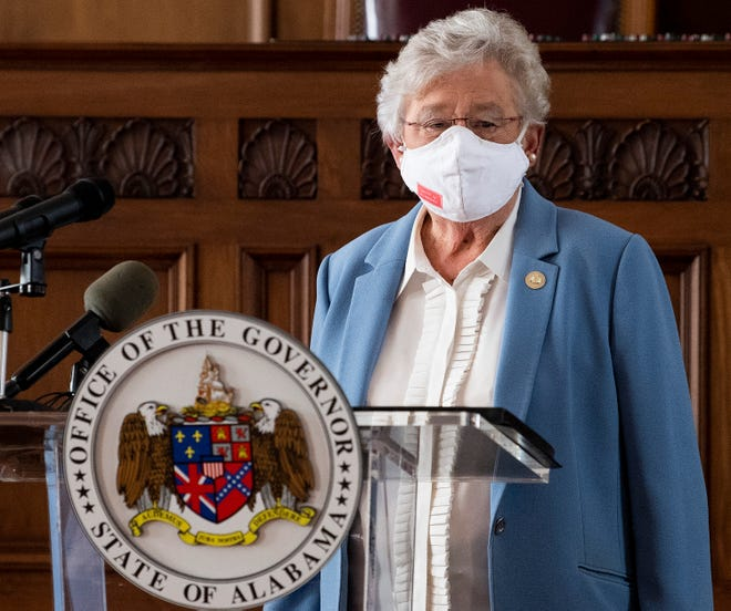 Governor Kay Ivey arrives to ask citizens to continue wearing masks and use social distancing during a coronavirus update in the state capitol building in Montgomery, Ala., on Tuesday June 29, 2020.