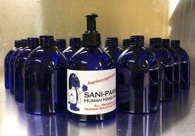 The Dickson County Humane Society's Sani-Paws hand sanitizer, which was made locally, is for sale at the Humane Society facility and local businesses.