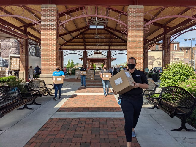 A June distribution of supplies from Amazon in downtown Newark.