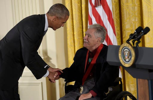 President Barack Obama shakes hands with author Rudolfo Anaya after presenting him with the 2015 National Humanities Medal during a ceremony in the East Room of the White House in Washington on Thursday, Sept. 22, 2016.