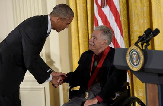 President Barack Obama shakes hands with author, Rudolfo Anaya after presenting him with the 2015 National Humanities Medal during a ceremony in the East Room of the White House in Washington, Thursday, Sept. 22, 2016.