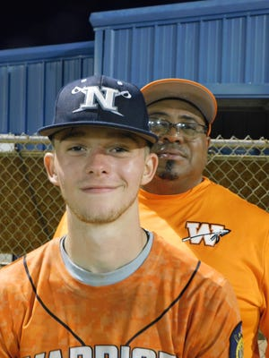 Parker LaFose (foreground), pictured with head coach John Guilbeaux, pitched a complete game Monday night, as the Iggy Castille State Farm Warriors defeated Crowley 5-3 at Westminster Christian Academy.