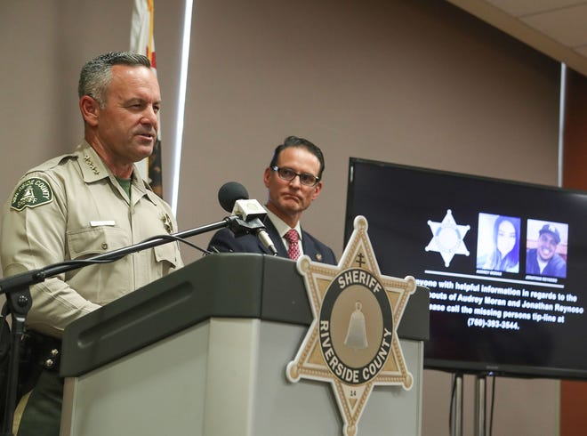 Riverside County Sheriff Chad Bianco, left, speaks about the 2017 missing persons investigation involving victims Jonathan Reynoso and Audrey Moran during a press conference in Palm Desert, June 30, 2020.  At right is Riverside County District Attorney MIke Hestrin.
