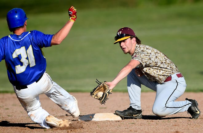 Vikings' Trent Ketterman, seen here at right in a file photo, had three hits, three RBIs and two runs scored in his team's 13-12 win over Mount Wolf on Sunday evening.