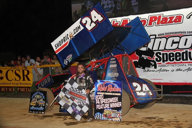 Rico Abreu is shown after winning a Pennsylvania Sprint Car Speedweek show at Lincoln Speedway on Monday night, June 29.