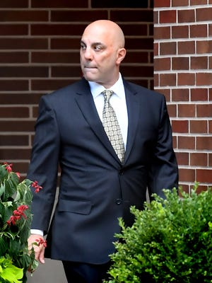 Bill Hynes leaves the York County Judicial Center after a pretrial conference Monday, June 29, 2020. He faces charges that include stalking, burglary, forgery and tampering with public records. Bill Kalina photo