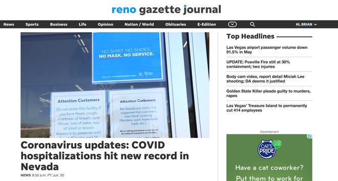 Screen shot of the redesigned RGJ.com home page.