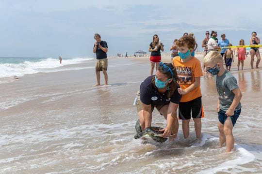 Two young helpers assist a National Aquarium team member release a turtle June 25, 2020 at Assateague State Park.