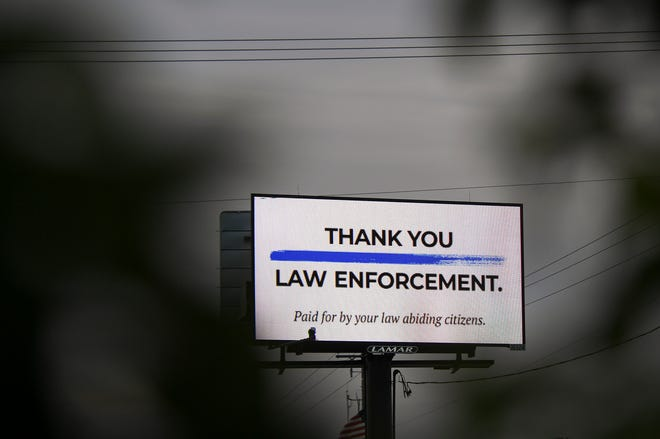 A billboard in support of law enforcement is seen on Monday, June 29, 2020 near 41st Street and Sycamore Avenue in Sioux Falls, S.D.