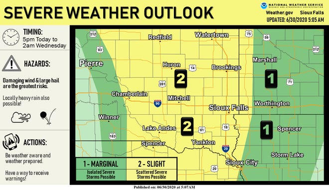 Large hail, damaging winds and locally heavy rain is possible Tuesday afternoon as a cool front pushes east of the Missouri River, bring strong to severe storms near Interstate 29.