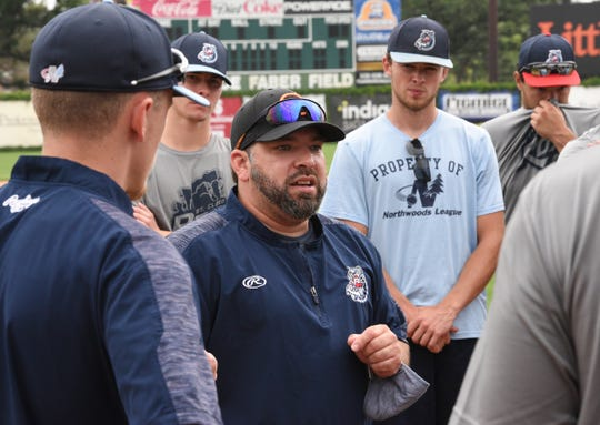 Rox manager Augie Rodriguez speaks to his team at practice Tuesday, June 30, 2020, at Joe Faber field.