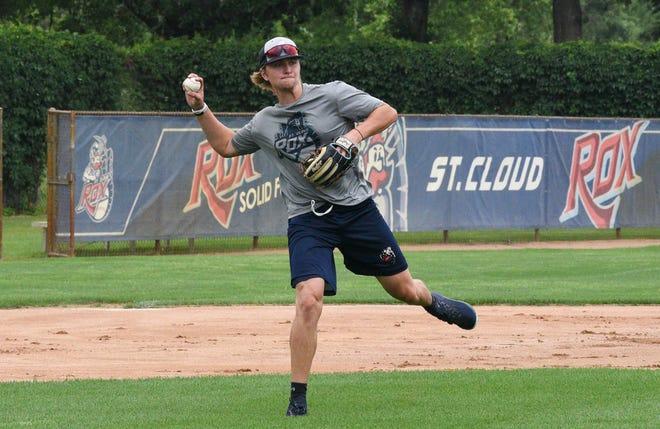 Rox infielder Jordan Barth makes a throw at practice Tuesday, June 30, 2020, at Joe Faber field.
