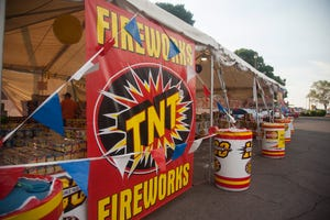 Local entrepreneur Orion Parker starts his second year running the TNT Fireworks tent near Smith's in St. George Saturday, June 27, 2020.