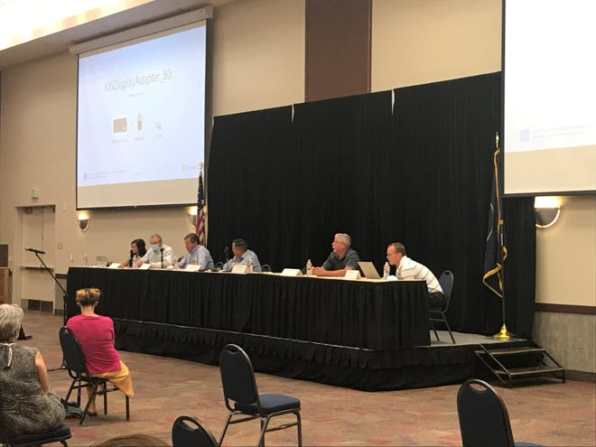 From second to left: Commissioner Dean Cox, Commissioner Gil Almquist, Commissioner Victor Iverson,  St. George City Councilman Bryan Smethurst and St. George City Manager Adam Lenhard meet in the Dixie Convention Center on June 29, 2020, to discuss the possibility of changing the convention center's name.