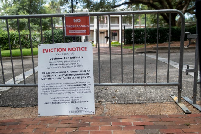 Activists posted an eviction notice for Gov. Ron DeSantis at the Governor's Mansion and called for him to extend executive order 20-94 which places a moratorium on evictions and foreclosures and is set to expire tomorrow, July 1, 2020.