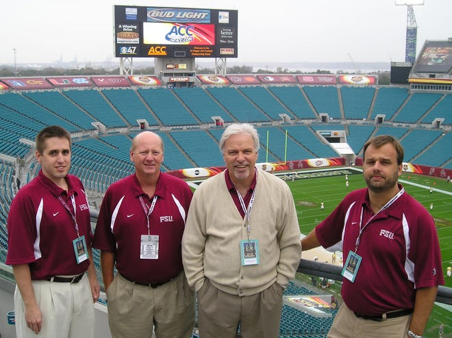 Tommy Sabourin, second from left, was a member of the Florida State statistics crew for many years.