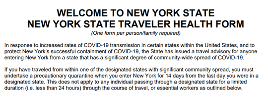 The New York Department of Health asks passengers on flights to fill out this form on where they have been as part of a 14-day quarantine required of people from states with high COVID-19 rates.