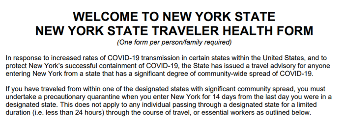 New York asking airline passengers to fill out questionnaire as part of COVID-19 quarantine