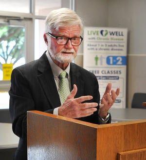 Wichita County Judge, Woody Gossom answered questions during a press conference announcing a new county-level order that requires pre-approval of outdoor gatherings of more than 100 people.