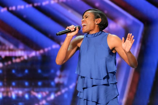 Former Olympic hurdler Shevon Nieto sings for 'America's Got Talent' judges during the June 30 audition episode.