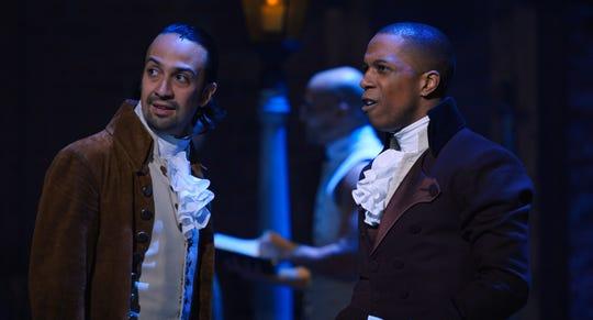 "Alexander Hamilton (Lin-Manuel Miranda) and Aaron Burr (Leslie Odom Jr.) are longtime frenemies in the musical ""Hamilton."""