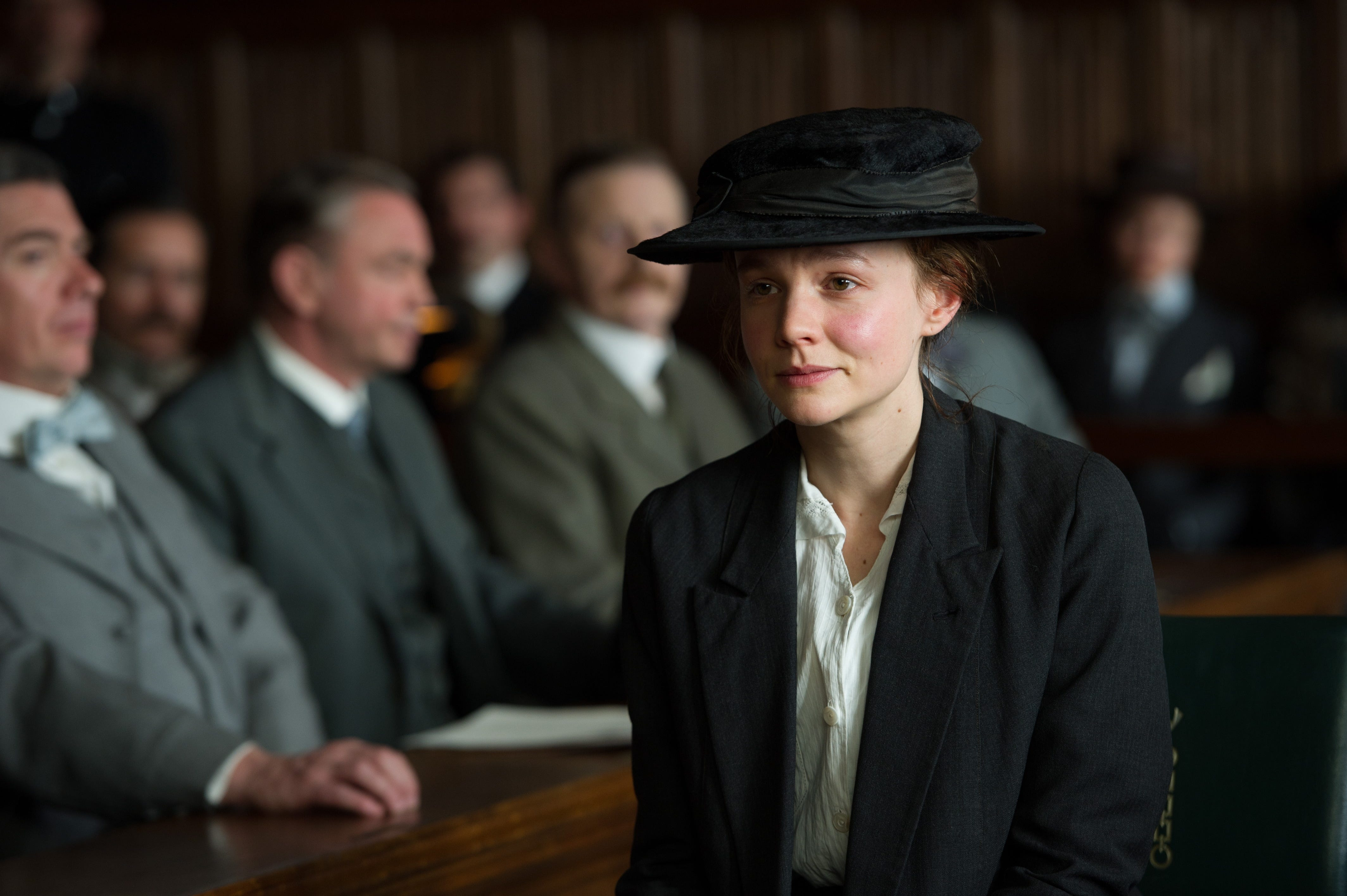 "Carey Mulligan portrays Maud Watts in the 2015 historical drama ""Suffragette."""
