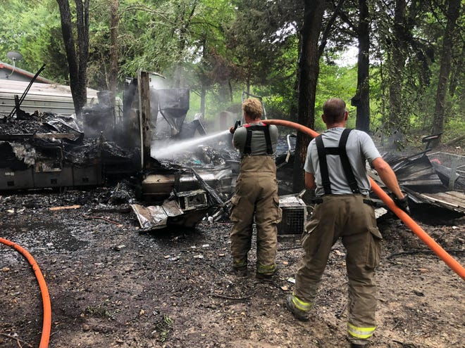Multiple Love County fire departments responded to a travel trailer fire on Tuesday afternoon. Three pets were reportedly killed in the fire.