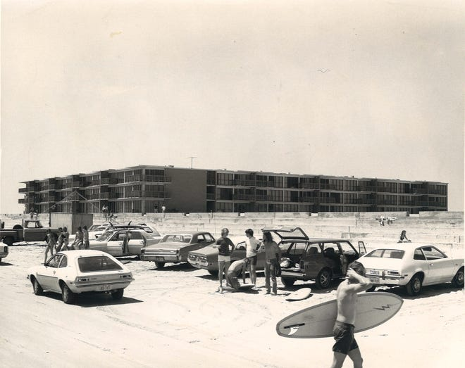The Island House Condominium on Padre Island and the seawall on March 31, 1974.