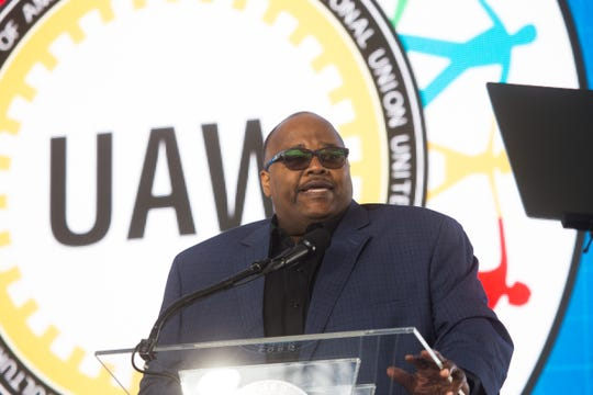 UAW-Ford Vice President Rory Gamble speaks during the Rouge 100 celebration of 100 years of production at the Ford Rouge Plant in Dearborn on September 27, 2018.