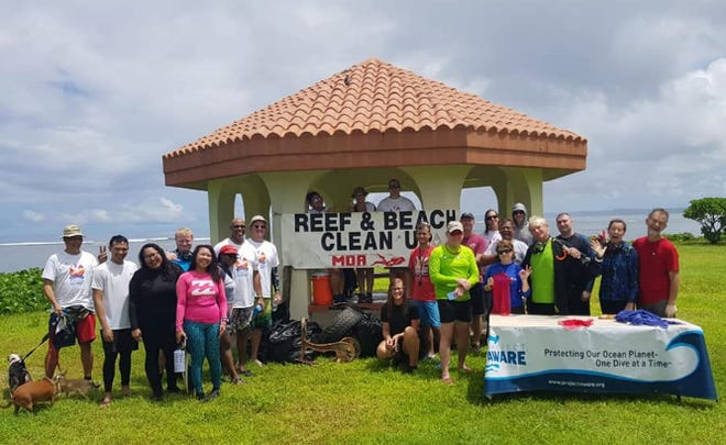 Reef and beach volunteers from the Micronesian Divers Association participate in 2019's Guam International Coastal Cleanup.