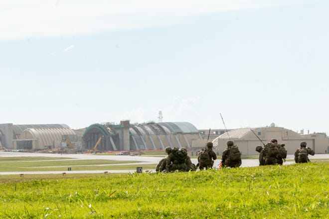 In this file photo from June, hundreds of paratroopers of the 4th Infantry Brigade Combat Team (Airborne), 25th Infantry Division, U.S. Army Alaska, demonstrate a joint forcible entry into Andersen Air Force Base, Guam, June 29 after a direct flight from Joint Base Elmendorf-Richardson, Alaska. The Airborne force underpins the United States' commitment to the security and stability in the Indo-Pacific Region and to safely conduct operations in a COVID-19 environment.