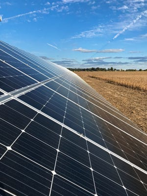 The solar panels on William Harlow's farm in Sharpsville, Indiana, will have native plants underneath it to provide habitat for bees and butterflies.
