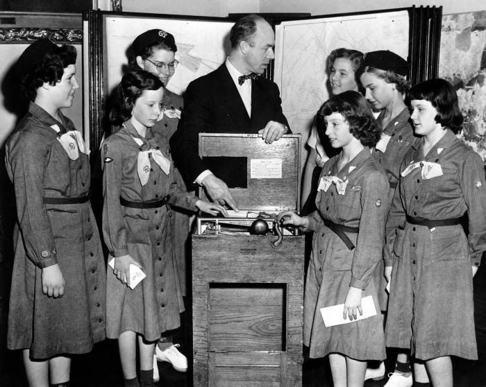 Girl Scout Intermediates learn to vote in 1955.