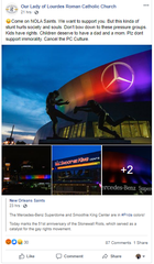 Our Lady of Lourdes Roman Catholic Church posted on Facebook criticizing the New Orleans Saints for lighting Superdome with pride colors on 51st anniversary of Stonewall Riots.