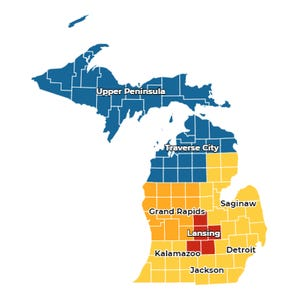 A screen grab of the MI Safe Start Map on July 1, 2020. Blue areas are at low risk, yellow areas are medium risk, orange areas are medium-high risk and red areas are high risk.