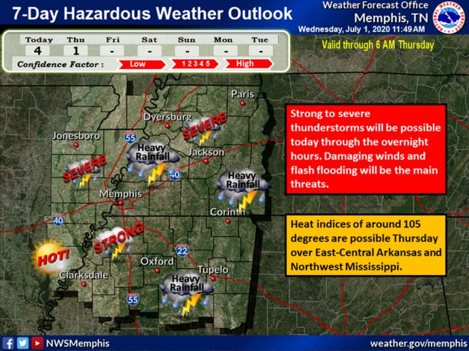 Severe storms are expected across the Mid-South Wednesday evening and overnight.