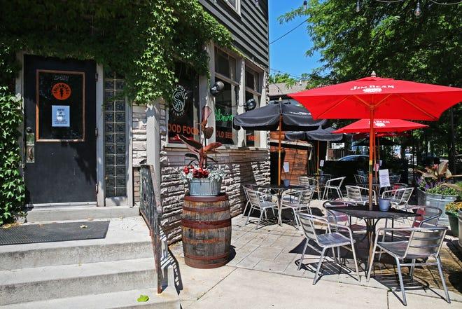 Outdoor seating awaits diners at Palomino Bar at 2491 S. Superior St.
