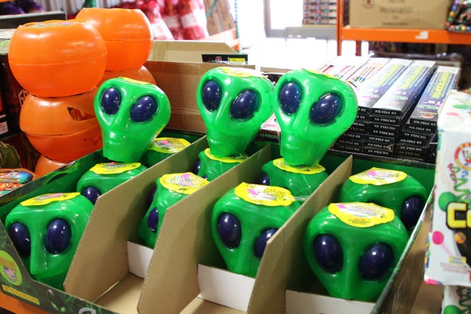 Alien head fireworks greet buyers at Amy's Fireworks in Artesia on July 1, 2020. Public fireworks displays in Carlsbad and Artesia are still on despite COVID-19.