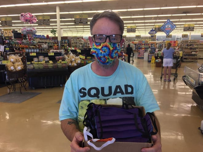 Lee Jason Friend delivers masks to Albertsons in Palm Desert.