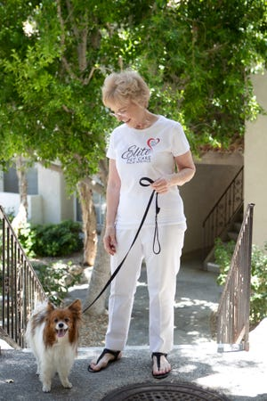 Joan Demiany, owner and general manager of Elite Pet Care is one of hundreds of small business grant recipients to help pay for her employees and supplies in Palm Springs, Calif., on Wednesday, July 1, 2020.