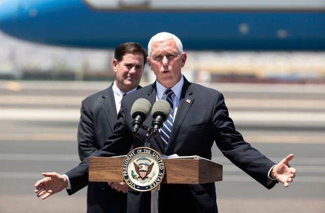 Vice President Mike Pence speaks at a press conference with Gov. Doug Ducey at Sky Harbor International Airport in Phoenix on July 1, 2020. Pence is leading the White House Coronavirus Task Force and is visiting Arizona, one of the new coronavirus hotspots in United States.