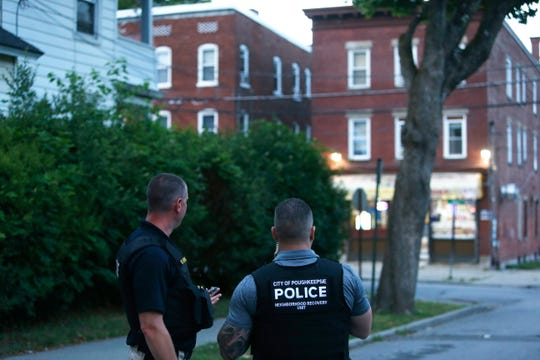 City of Poughkeepsie Police monitor the scene at South White Street and Fox Terrace where a subject barricaded themself inside their residence on June 30, 2020.
