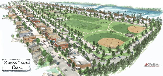 An artist's rendering of the proposed redevelopment of the former Lear property at 2200 Linden Avenue in Zanesville. The city purchased the property from the Muskingum County Land Bank earlier this week after a protracted battle to get the property cleaned up by the plot's previous owners.