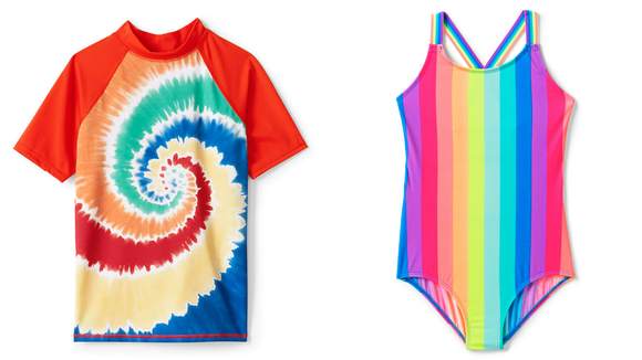 Lands' End is a great place to shop for traditional swimwear for kids.