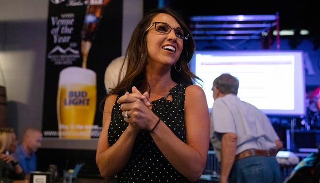 Lauren Boebert waits for returns during a watch party in Grand Junction, Colo., Tuesday, June 30, 2020.