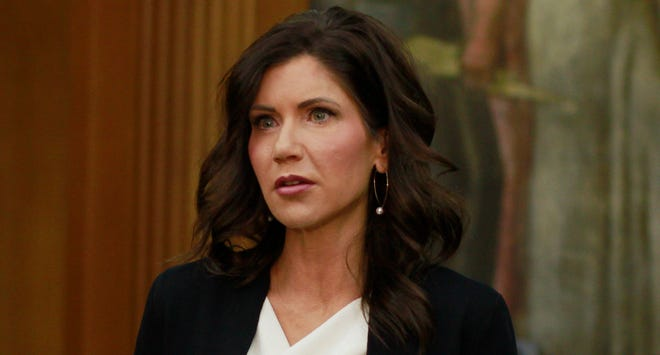 South Dakota Gov. Kristi Noem announces on  June 22, 2020, that city and county governments will be able to access federal coronavirus relief funds as she speaks at the Sioux Falls city hall in Sioux Falls, South Dakota.